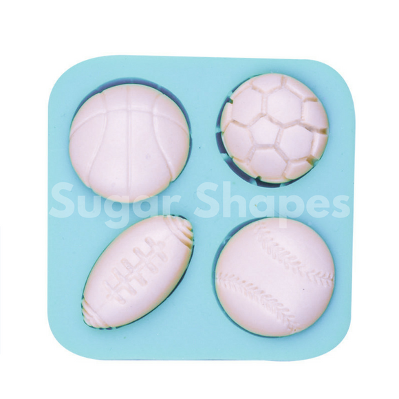 SILICONE MOULD SPORTS BALL ASSORTED 4PC