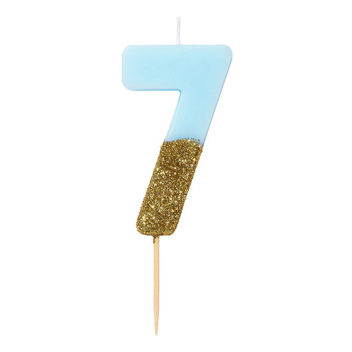 DIPPED NUMBER CANDLE BLUE #7