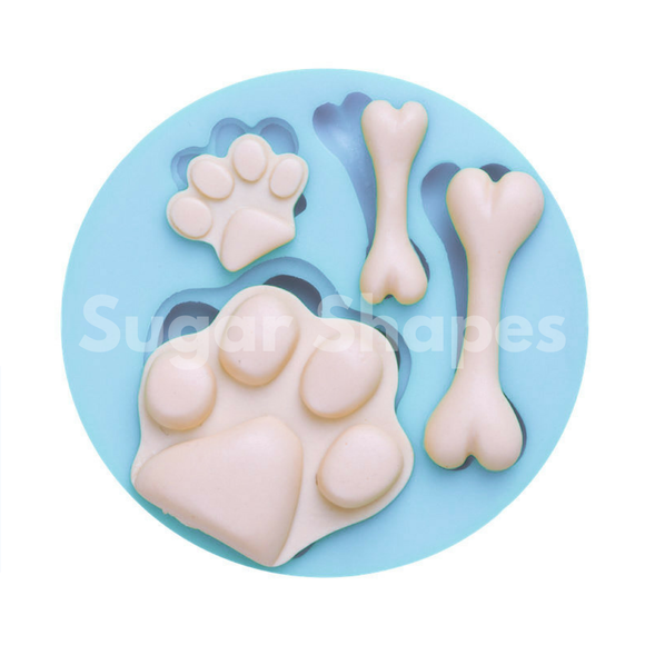 SILICONE MOULD PAW & BONE ASSORTED 4PC