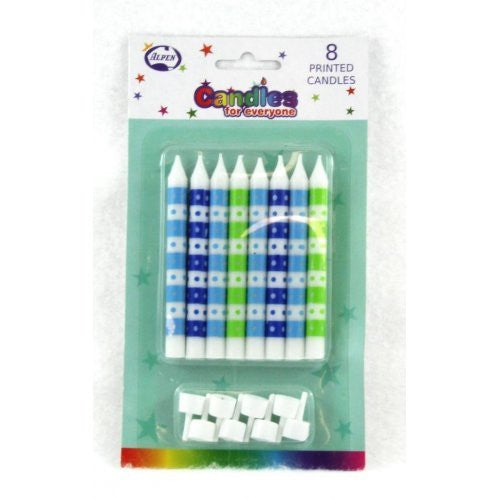 CANDLE DOTS BLUE & GREEN 8PC