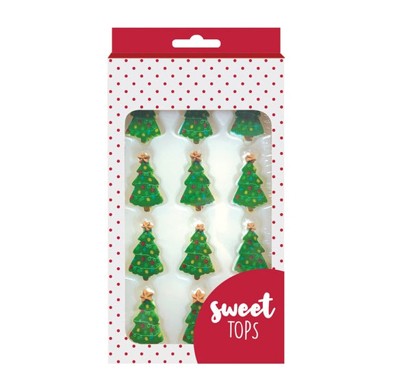SWEET TOPS SUGAR DECORATIONS CHRISTMAS TREE 12PC