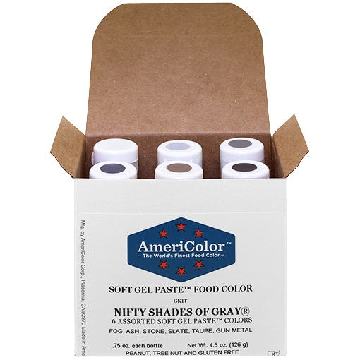 AMERICOLOR GEL COLOUR NIFTY SHADES OF GREY KIT 6PC