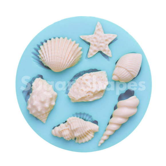 SILICONE MOULD SEASHELL ASSORTED 7PC