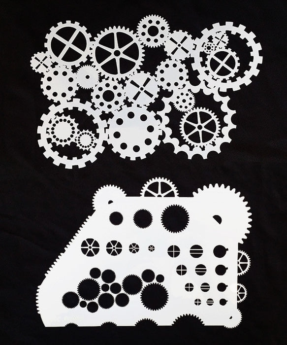 STENCIL COGS AND GEARS 2PC