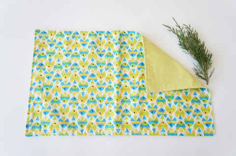 Organic Cotton Lovey Security Blanket Burp Cloth Fishies