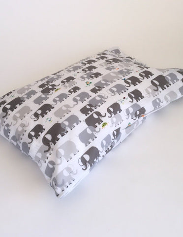 Organic Toddler Pillow Case - Elephants