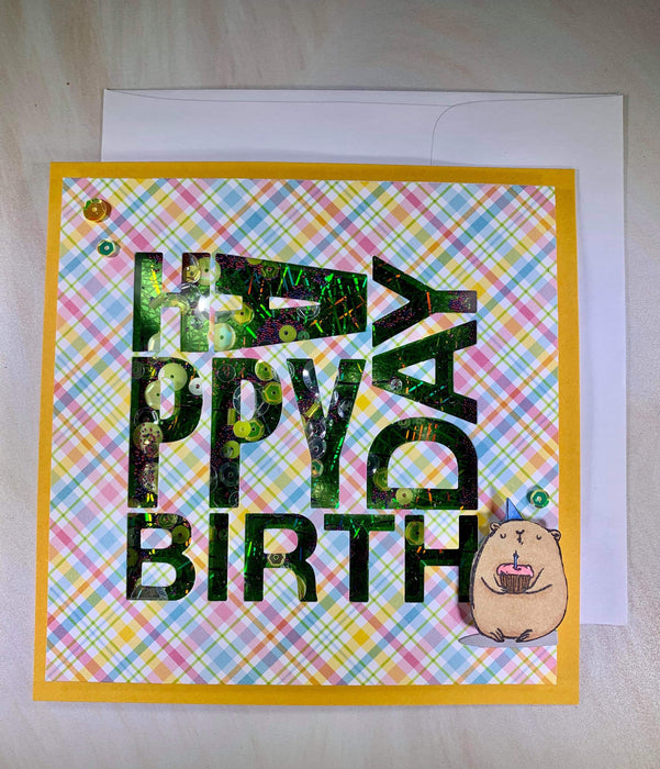 Foiled Birthday Card - shaker card