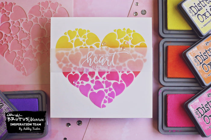 Stenciled Heart Valentine | Cards with Ashley