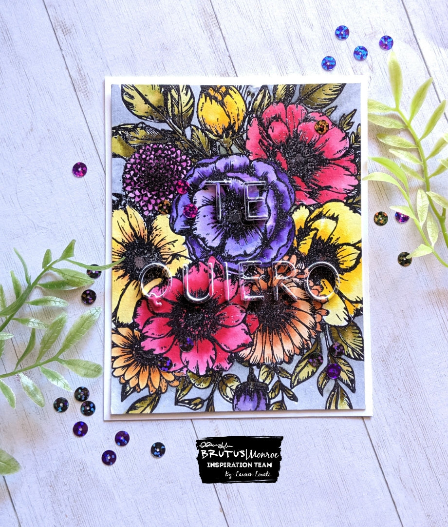 Floral Watercolor Eclipse Card