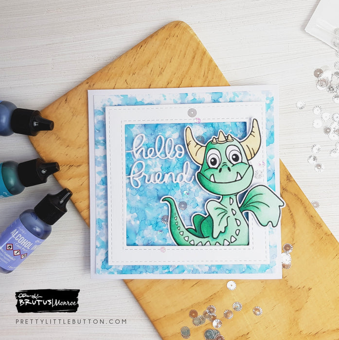 Hello Friend - Alcohol ink dragon and background