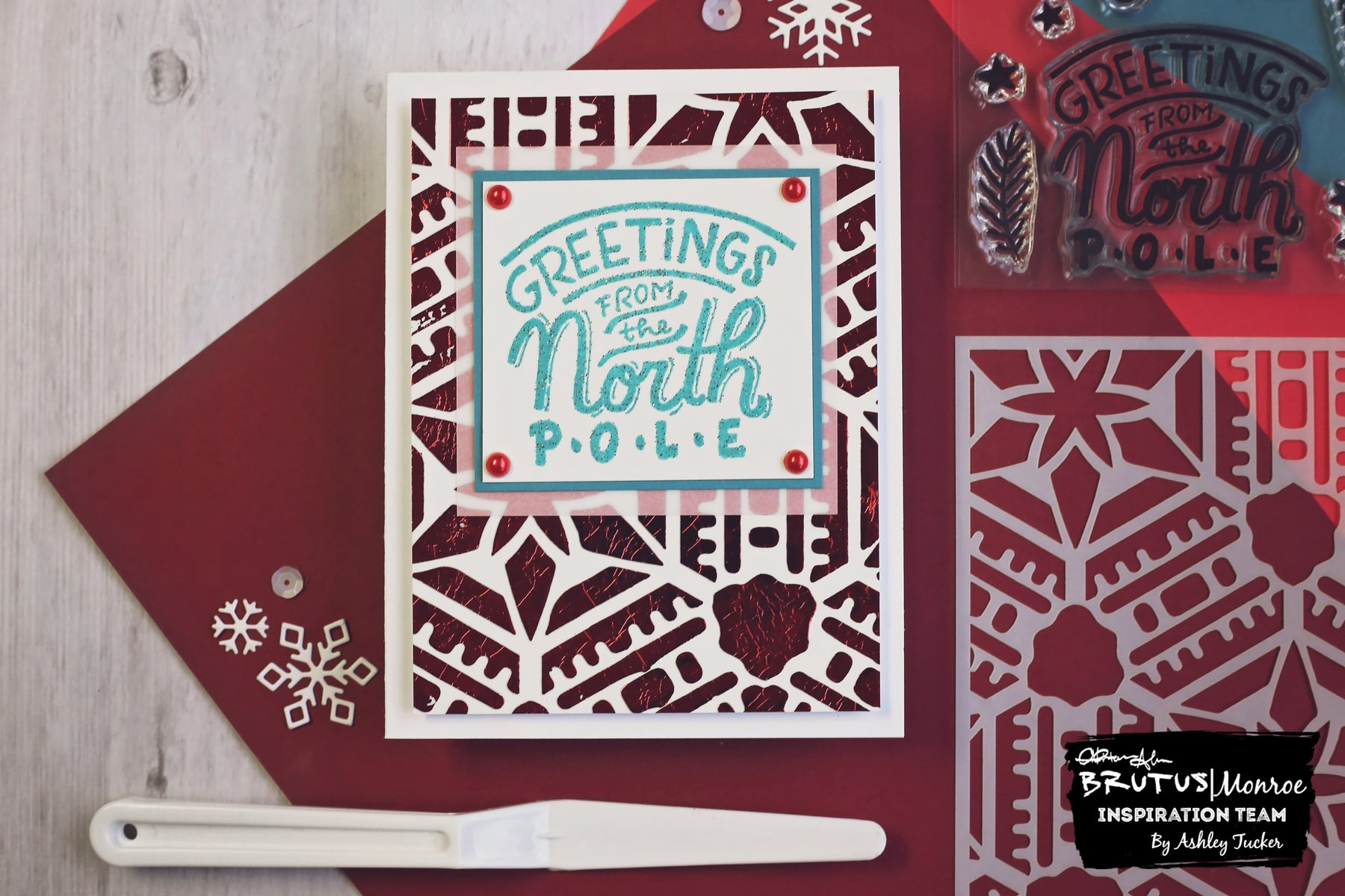 Foiling with a Stencil | A Christmas Card with Ashley