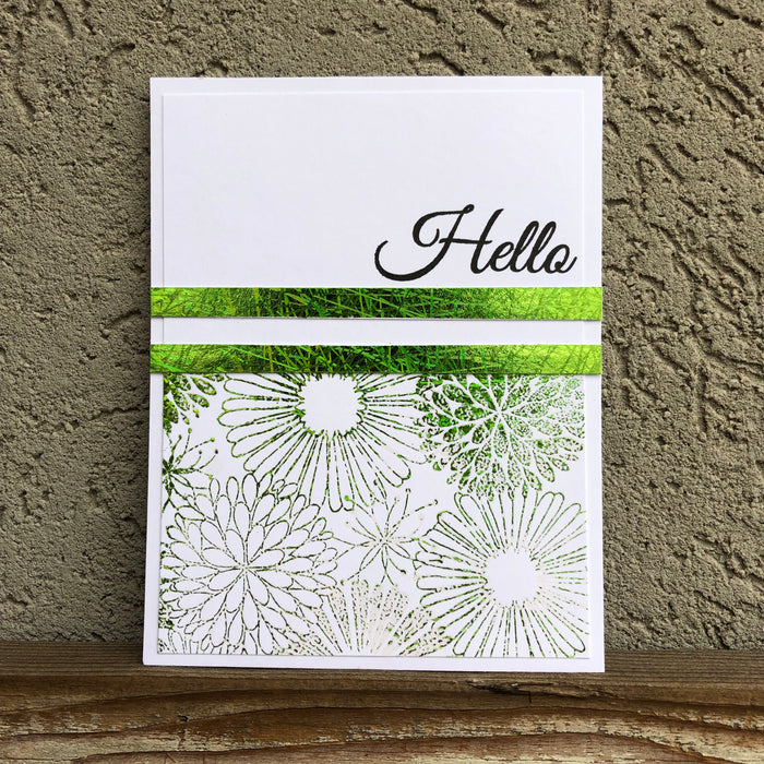Stamping foil using embossing ink and powders.