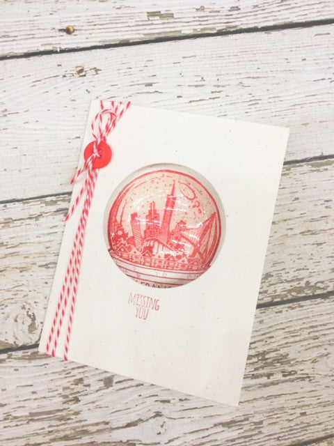 San Francisco Snowglobe Peek-A-Boo Card- Betz Golden
