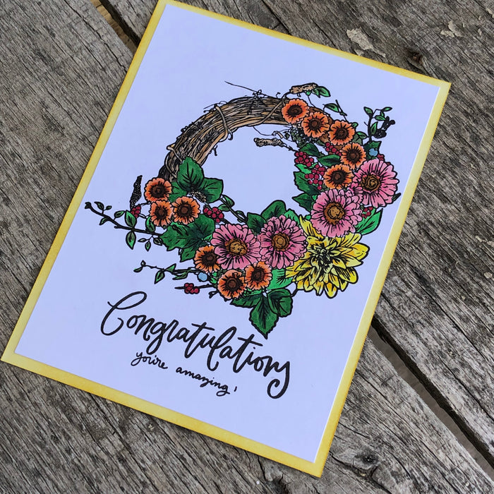 Spring wreath card with Luisana