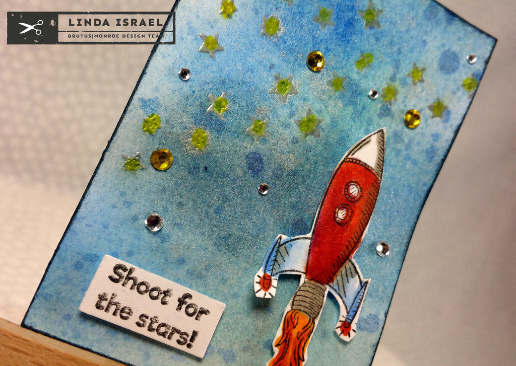 Rocketship Artist Trading Card for the June #ATCAD2017 Challenge Day 24