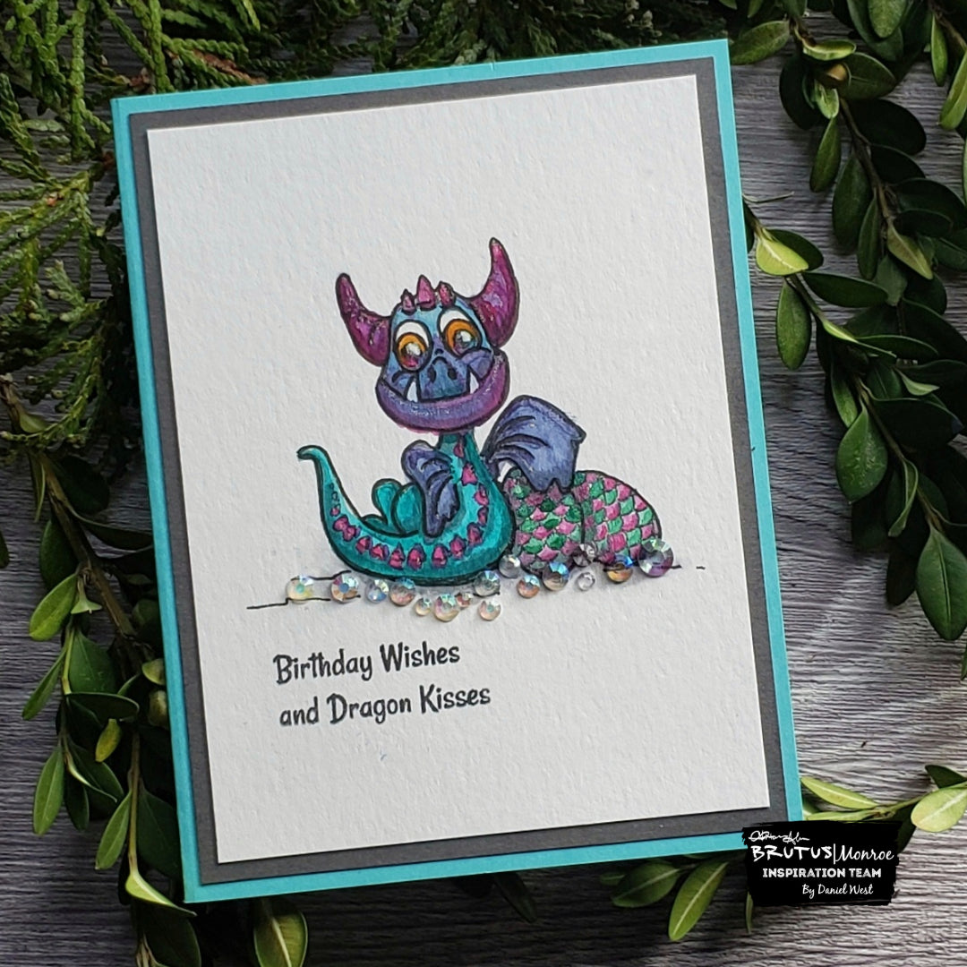 Dragon Kisses Card with Aqua Pigments