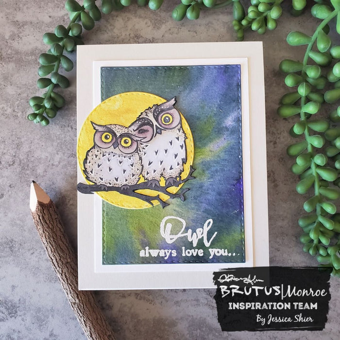 Owl Love You coloring and Watercolor background