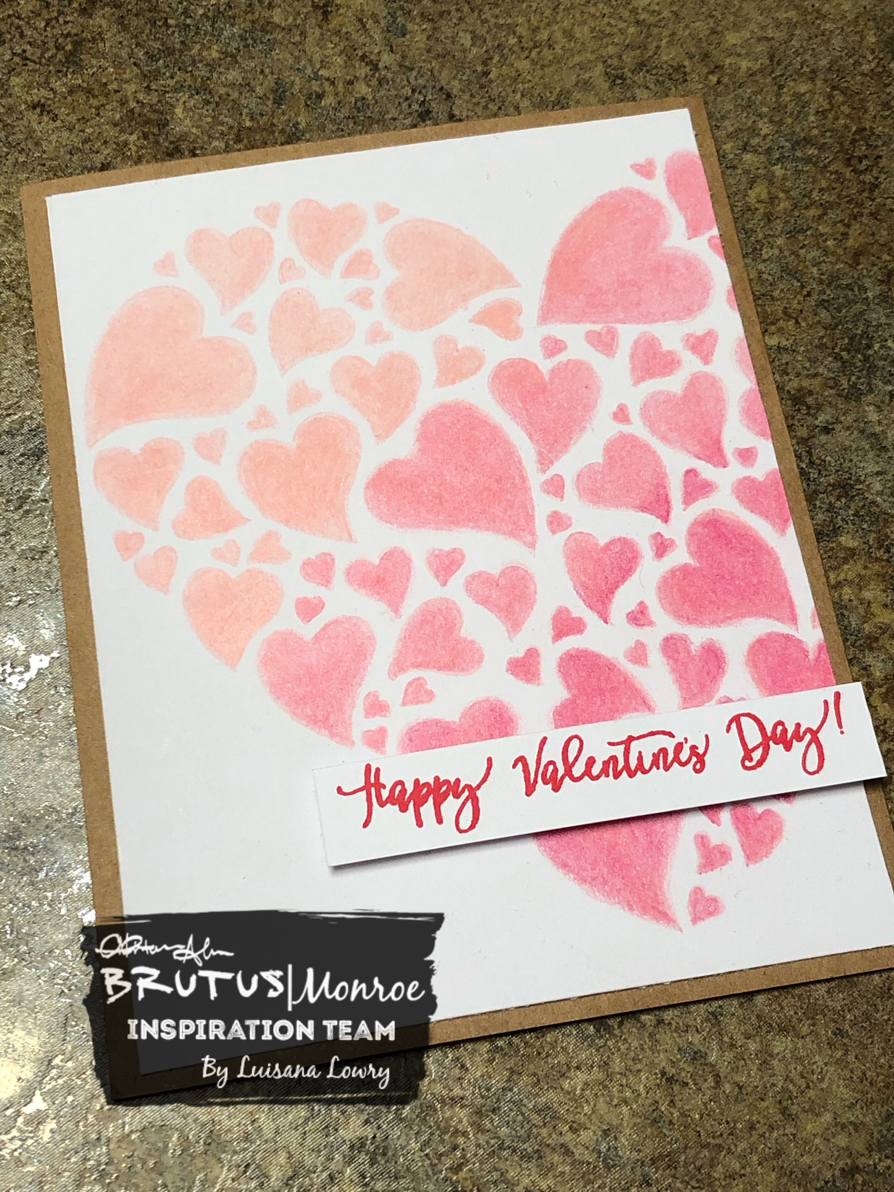 Simple Valentine's card using 3 coloring pencils.