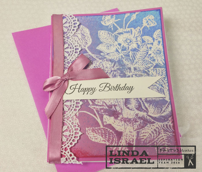 Embossing Resist With Botanical Background