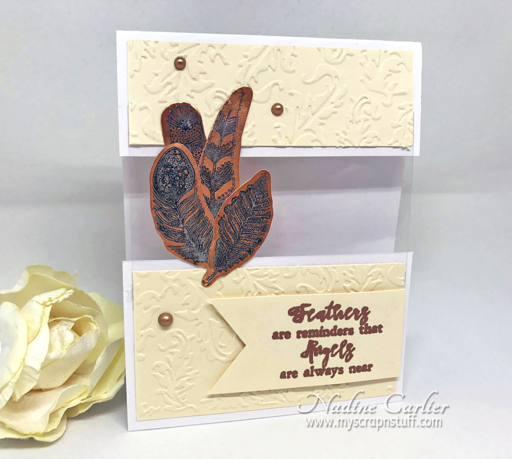 An Elegant Feather Card with a Peek-A-Boo Window