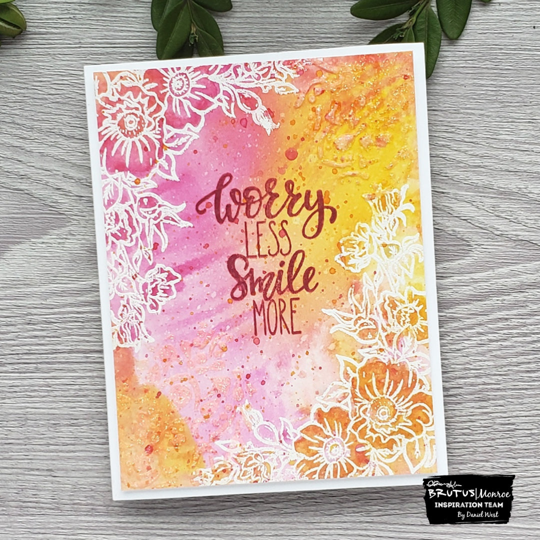 Double Textured Card with Embossing Powder and Pearl Paste