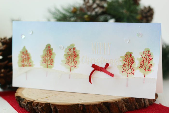 Simple Watercolor Trees with the Sketched Holiday Stamp Set