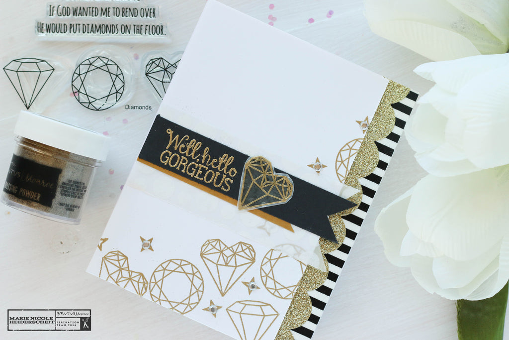 Diamonds! Using the Gilded Embossing Powder on Cards