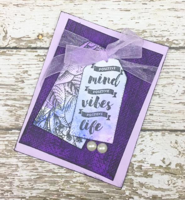 Purple Tag Card Using Watercolor Pencils and Scratch Background Stamp
