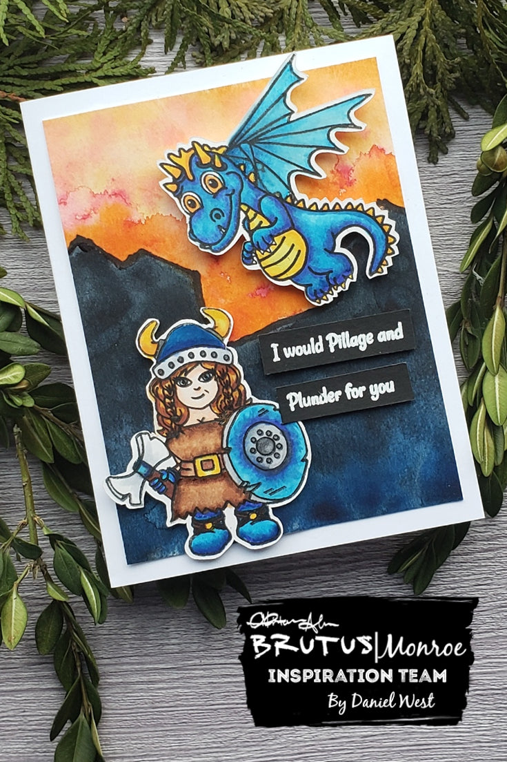 Viking Valentine with Dragon Kisses Stamp Set and Aqua Pigment