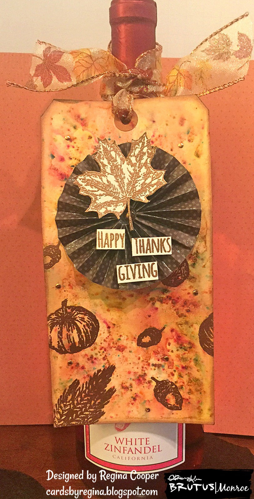 Happy Thanksgiving Wine Tag Using Colorburst