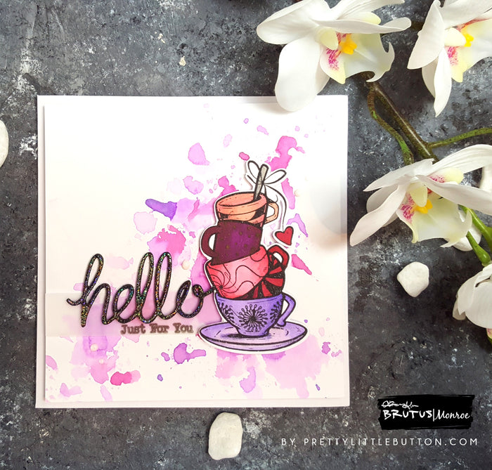Hello Stacked Cups - Ink Smooshing