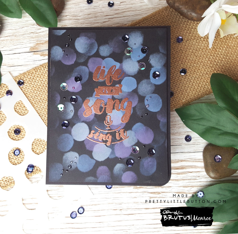 Bokeh Inspired card with Paint Spots Stencil