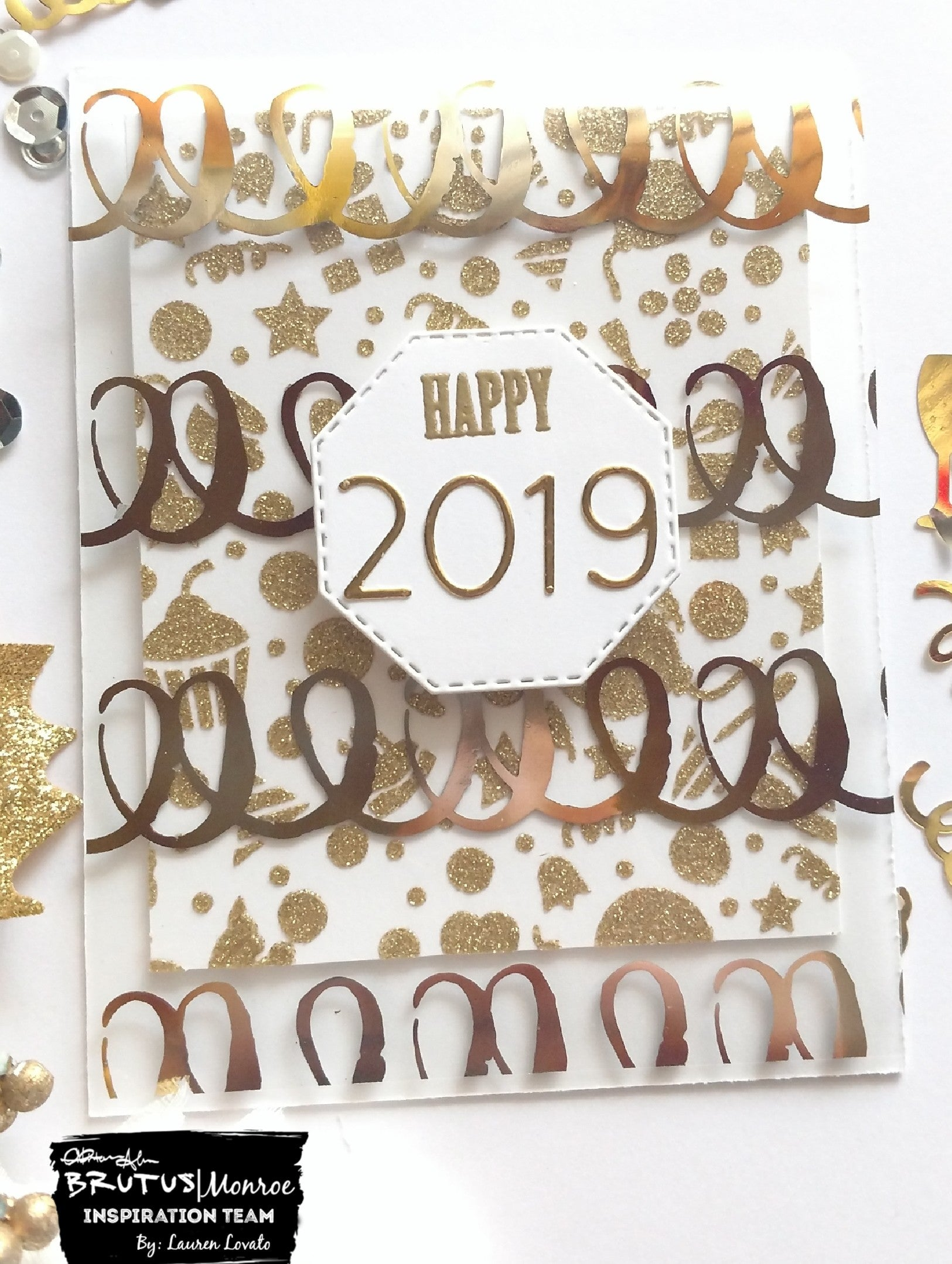 Clear Toner Sheet & Glitter Glaze New Year's Card