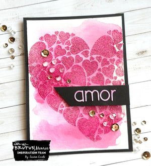 Stencil and Glitter Glaze of the Month - Amor Card