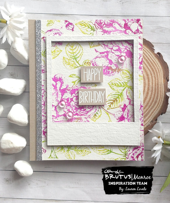 Floral Background with Chipboard Photo Frame