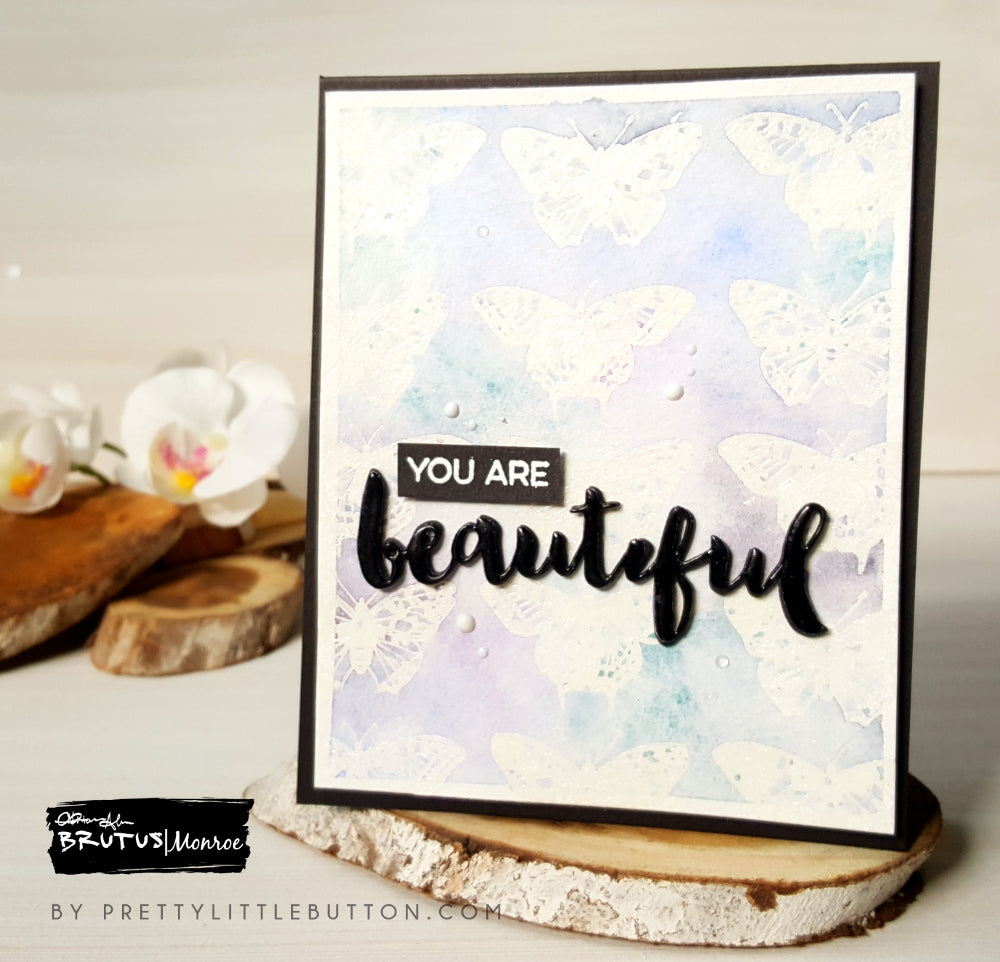 Embossed resist watercolour Butterfly background