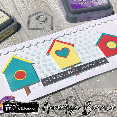Slimline card with colorful bird houses