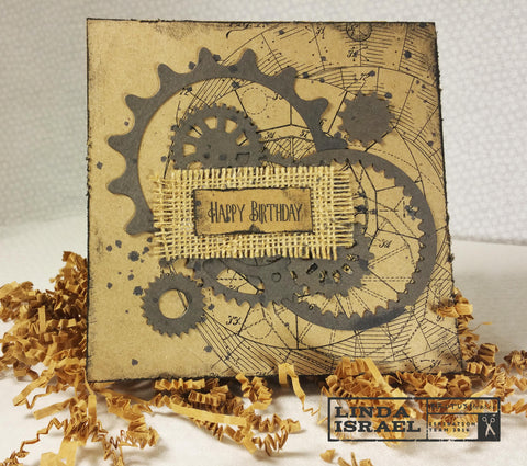 Blueprint and Gears - A Masculine Card