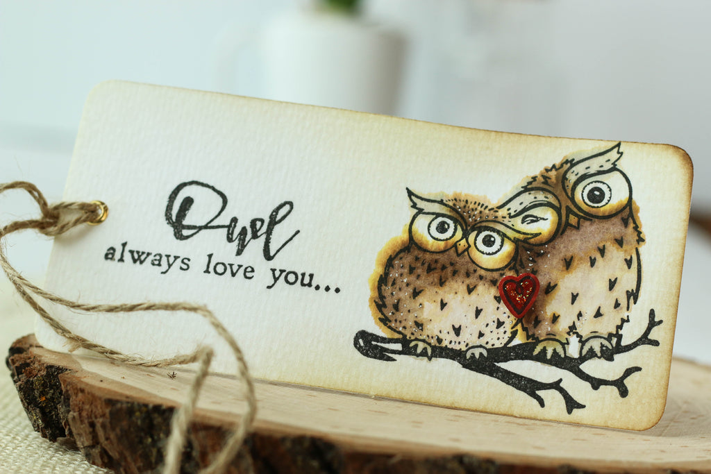 "Cute tag with a watercolored image from Brutus Monroe. ""Owl Always Love You!"""