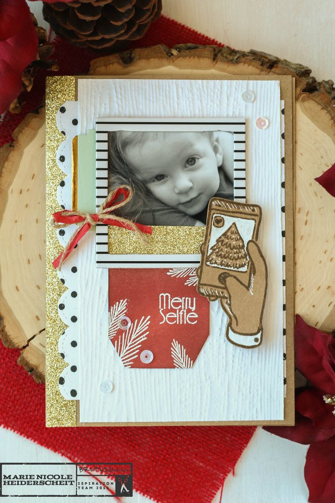 Brutus Monroe's stamp for November's stamp club is perfect for creating projects with your photos! We all send out family photos with our cards for Christmas, why not make your photo part of your card layout?