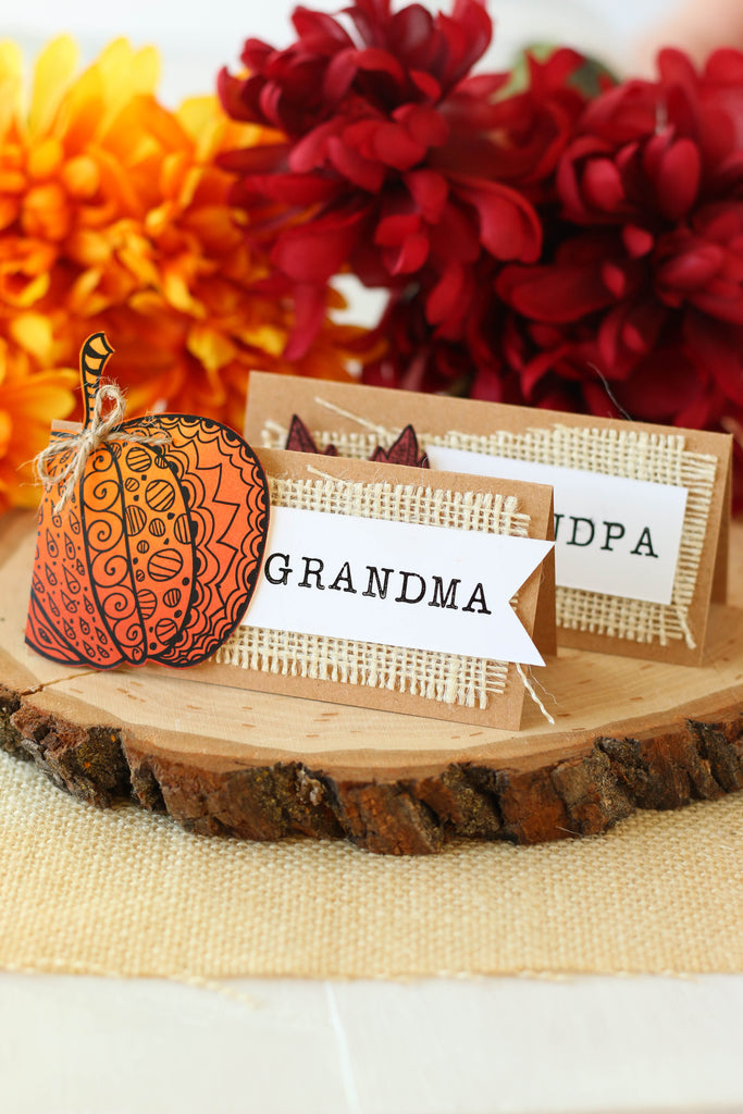 Easy Thanksgiving table place cards made with Brutus Monroe's Fall Tangled Elements paper pad!
