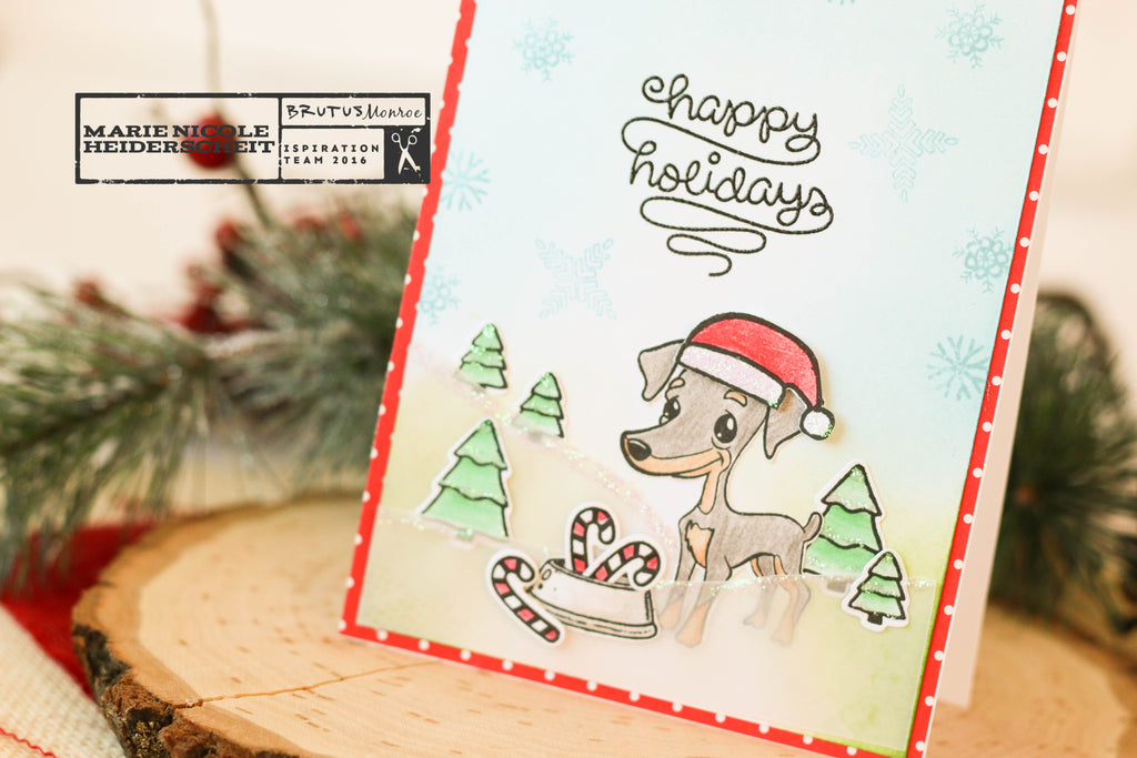 Brutus and Friends stamp set. Cute Christmas scene!