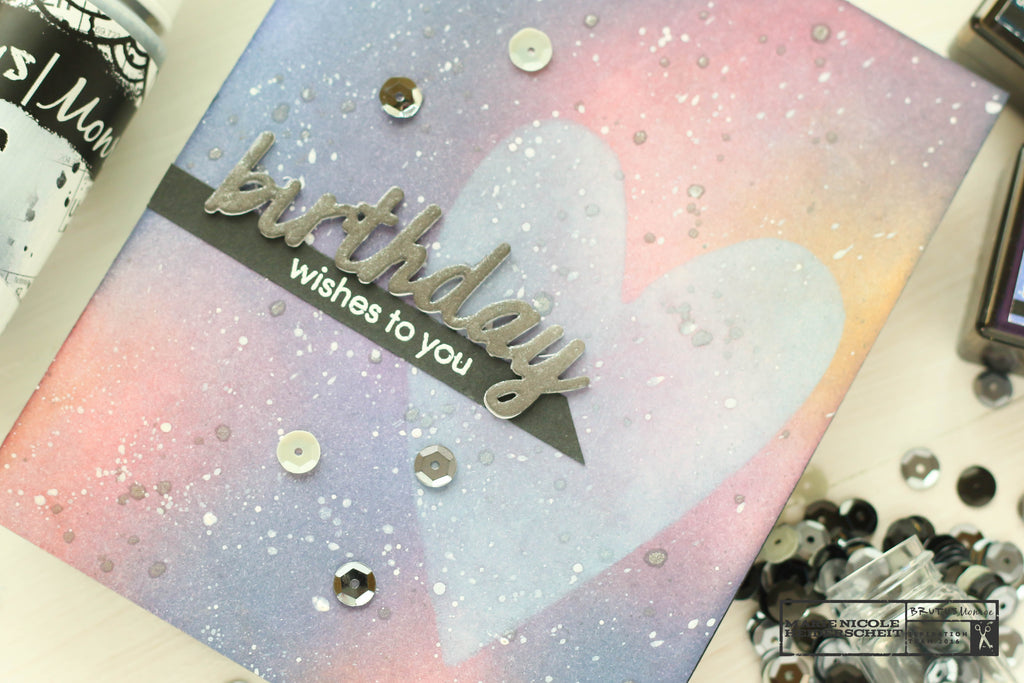 Galaxy background on a handmade card created with Brutus Monroe's Chalk Inks and Distress Inks.