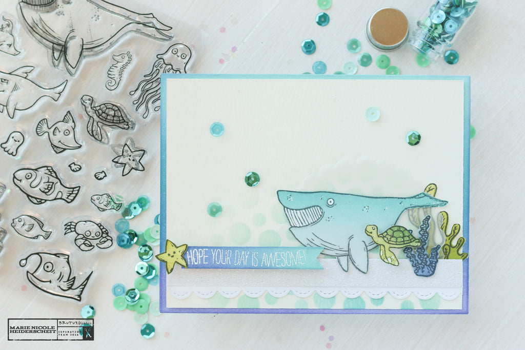 Handmade card using Brutus Monroe's Fish Tank stamp set. So cute!