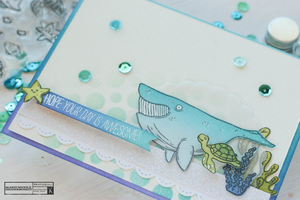 Handmade card created by using Brutus Monroe's Fish Tank stamp set.