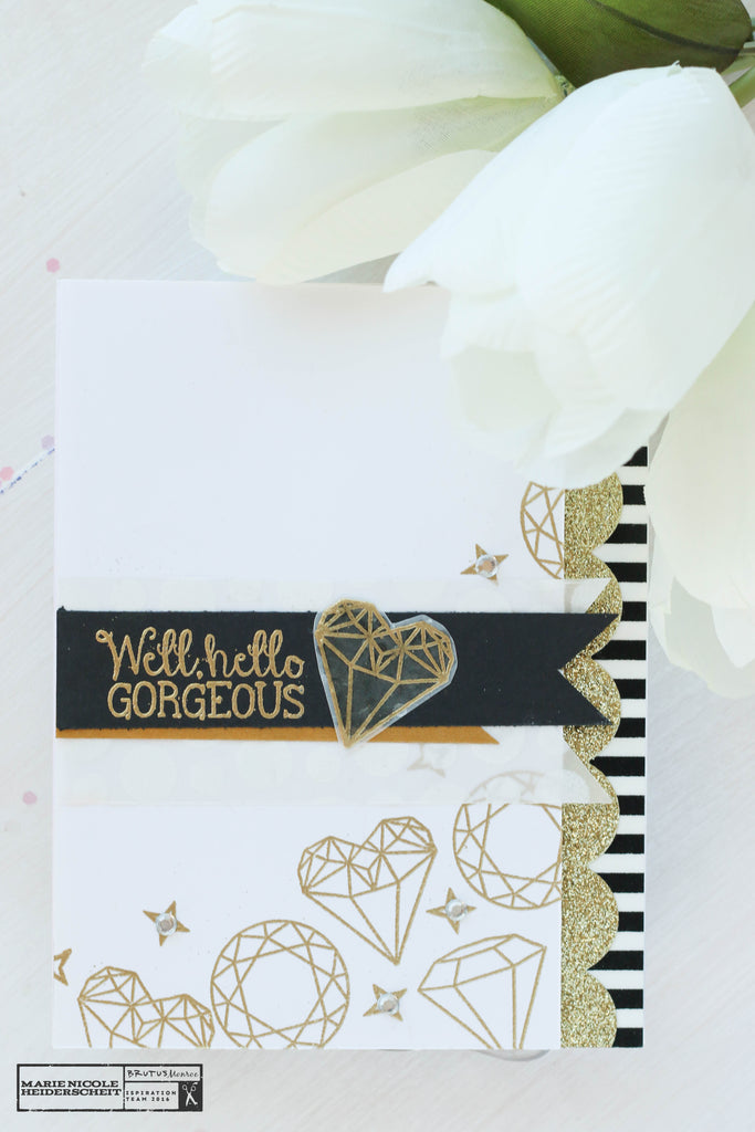 Brutus Monroe's Gilded embossing powder is perfect for embossing the Diamonds Stamp Set!