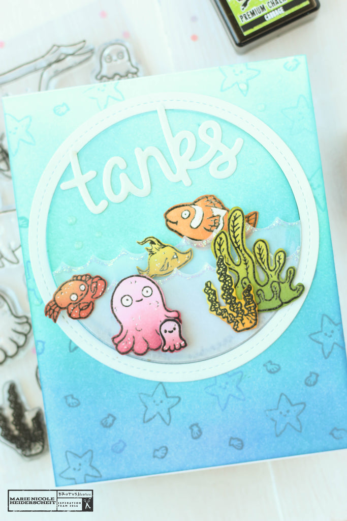 Thank you card created with the Brutus Monroe Fish Bowl stamp set and a few Lawn Fawn dies.