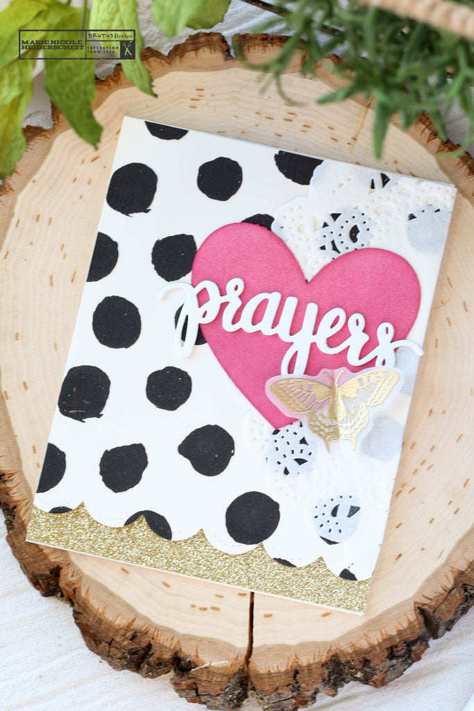 Prayers card with a Brutus Monroe stencil to create a polka dot background.