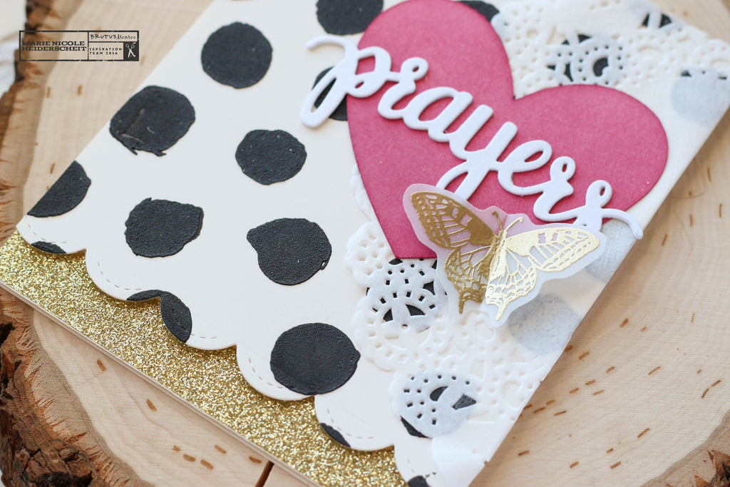 Lovely Prayers card created with Brutus Monroe stamps, embossing powder, and stencils!