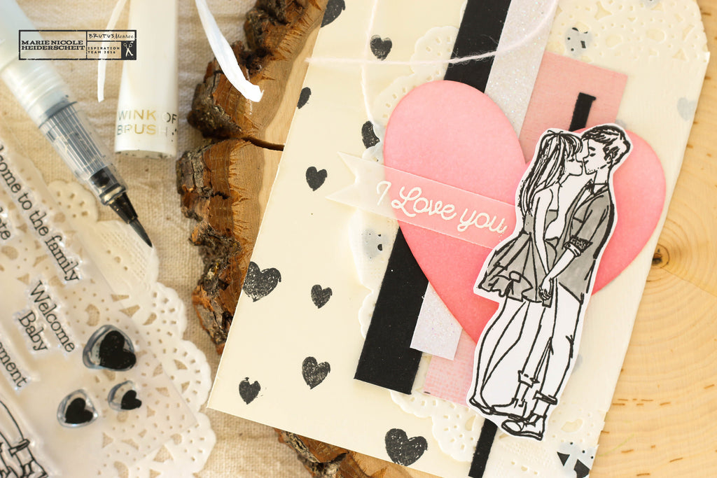 Love Grows stamp set from Brutus Monroe and a few scrap papers together makes this adorable Valentine's or Love themed tag!